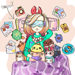 Cute girl with sleeping mask is listening to music on headphones, sweet dream anime style cartoon character comics girl with her toys, young fashion woman vector illustration