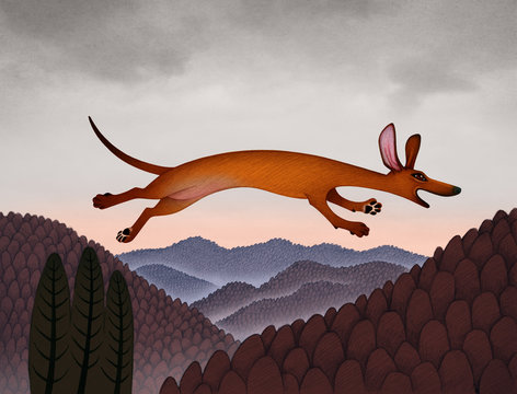 Little Red Dog Leaps Across the Sky