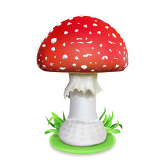 Red fly agaric mushroom. Realistic icon illustration