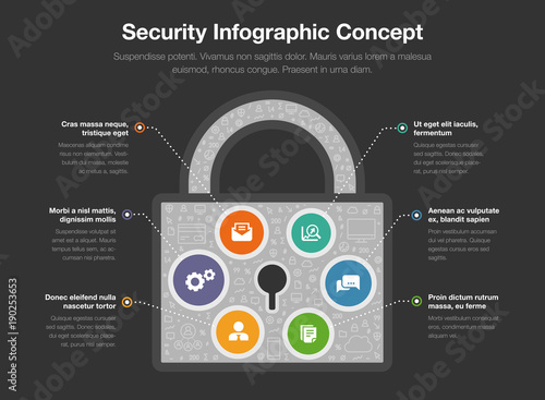 Security Infographic Concept With Padlock Symbol Isolated On Dark