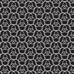 linear white circle overlapped with white star pattern black background