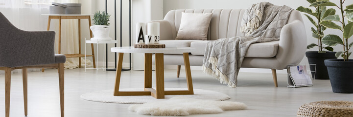 Wooden table in living room
