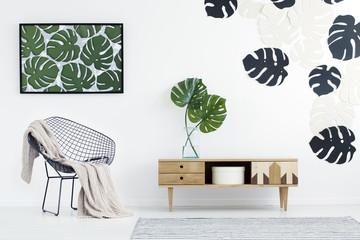 Monstera leaves in flat interior