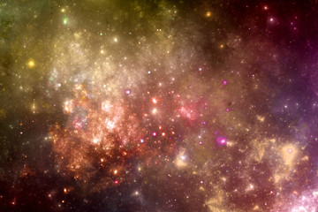 Fantasy universe galaxy with stars and nebula, astro background