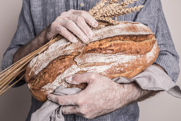 Rustic crusty loaf of bread in baker man's hands