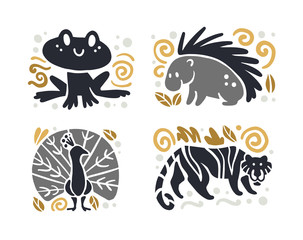 Vector flat cute funny hand drawn animal silhouette isolated on white background - frog, porcupine, tiger and peacock. Perfect for children goods store logo insignia, kid clothes and accessory prints.
