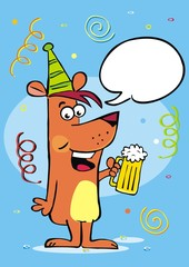 festive greeting card, dog and beer, bubble, creative vector illustration