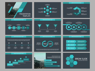 Green Abstract presentation templates, Infographic elements template flat design set for business proposal brochure flyer leaflet marketing advertising banner template