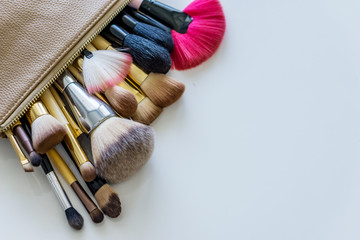 Close up of brushes, makeup applicators.