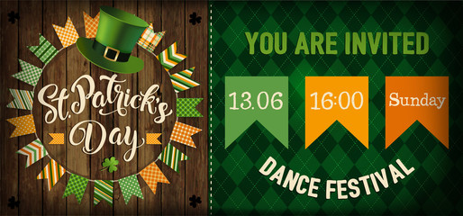 St. Patrick's Day vintage holiday flyer design. Vector illustration.