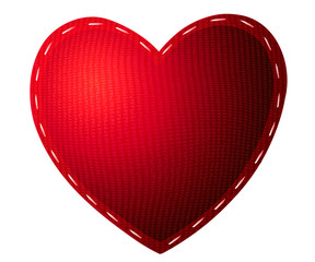 Valentine's Day. Tissue red heart isolated on white background.