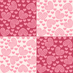 Seamless background with pink hearts. Ideal for printing on fabric or paper. Vector illustration.