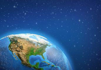 Planet Earth. North America from space. Wall mural