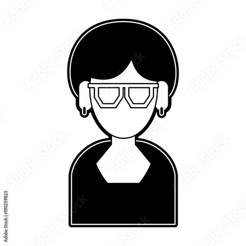 woman with glasses faceless avatar icon vector illustration graphic