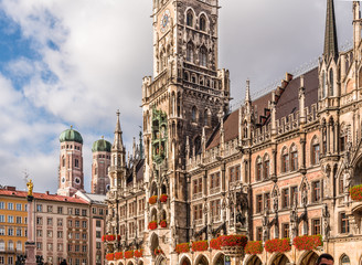 The New Town Hall at the northern part of Marienplatz in Munich, Bavaria, Germany.