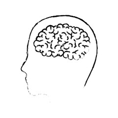 human face silhouette with brain inside in black blurred contour vector illustration