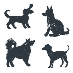 Black hand drawn isolated dogs silhouette. Grunge ink illustrati