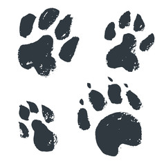 Black hand drawn isolated wild animal footprints. Grunge ink ill