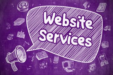 Website Services - Doodle Illustration on Purple Chalkboard.