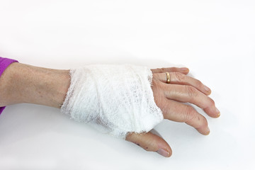 Bandaged female hand.