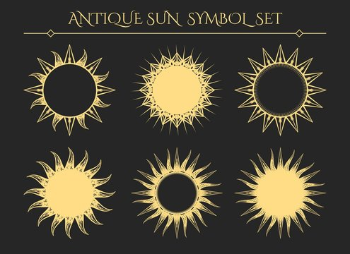 Sun symbols. Vintage starburst mystical icons or spiritual geometry star logo signs