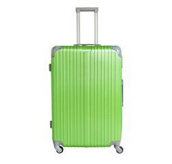 Green suitcase isolated on white background. Polycarbonate suitcase isolated on white. Green suitcase.