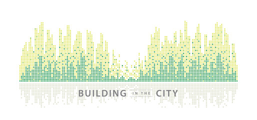 Fototapete - Abstract City vector, Equalizer background. transparent city landscape, Dots Building in the night City.