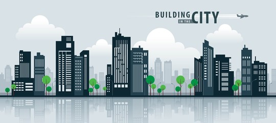 White Building in the City, skyscraper Perspective. Architecture vector. Wall mural