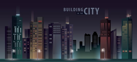 Fototapete - White Building in the City, skyscraper Perspective. Architecture vector.