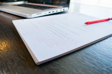 Close up of corrected manuscript
