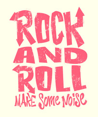 Rock and roll grunge print, vector graphic design. t-shirt print lettering.