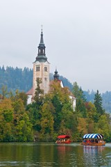 Ancient baroque church on Bled Island in Slovenia