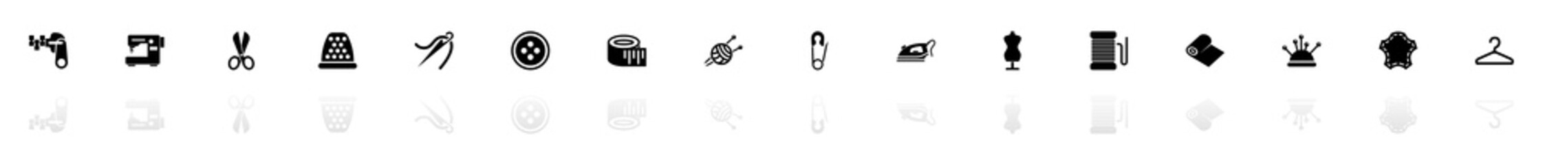Tailoring icons - Black horizontal Illustration symbol on White Background with a mirror Shadow reflection. Flat Vector Icon.