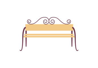 Icon of Decorated Bench on Vector Illustration