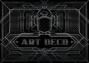 The Great Gatsby Style vector, Abstract Eagle geometric patterned background and geometric