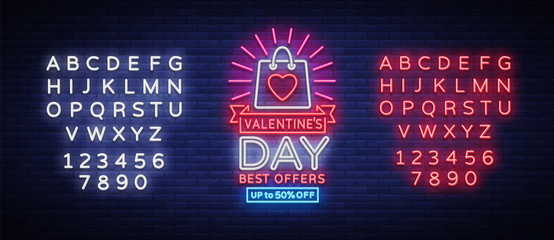 Valentines Day sale vector design template poster in neon style. Neon sign, neon banner with discounts, bright night advertising, brochure, flyer postcard. Vector illustration. Editing text neon sign