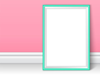 Photoframe realistic mock up vector turquoise pink wall