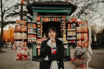 Young woman kiosk
