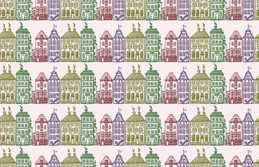 pattern with painted ink retro houses