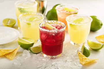 Variety of margarita cocktails