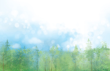 Vector spring landscape with blue sky and  forest background.