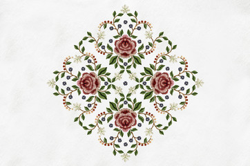 Pattern of bouquets with flowers for embroidery on napkin