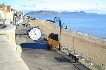 Clock in town of Lyme Regis on the Jurassic Coast, Dorset
