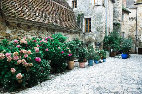 Historische Kulisse Häuser Blumen Frankreich