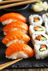 Fresh sushi and rolls