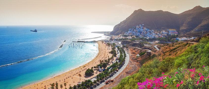 Panoramic aerial view over Las Teresitas beach in summer holiday in Tererife island, Spain