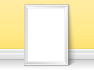 Photoframe realistic mock up vector yellow kids room wall