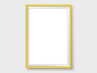 Photoframe template realistic mock up vector gold