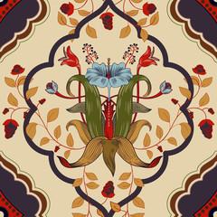 Fotobehang Botanisch Vector floral pattern, victorian style. Floral bouquet with ornament. Vertical ornament