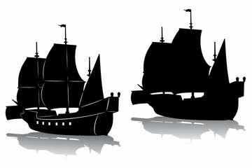 silhouette of a historic ship, vector drawing